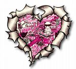 Ripped Torn Metal Heart with Pink Tinted JDM Style Stickerbomb Motif External Car Sticker 105x100mm